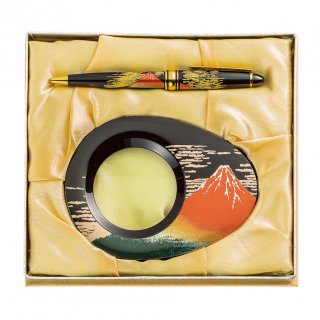 山中漆器 漆芸ルーペ・ボールペンセット 赤富士(B)