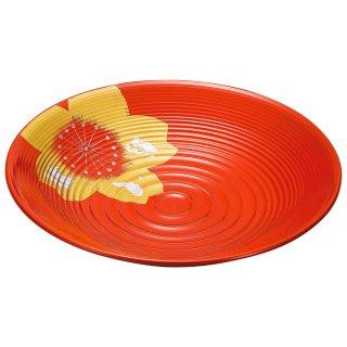 山中漆器 絆 9.0波紋盛鉢 ひとえ 洗朱