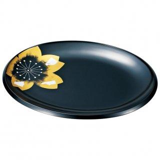 山中漆器 絆 14.0小判パーティー盛皿 ひとえ 黒
