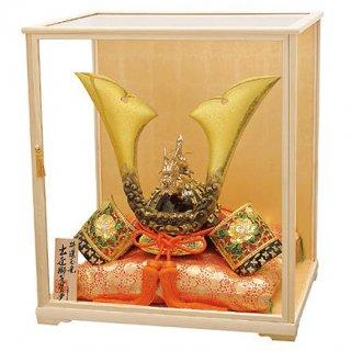 高岡銅器 特選玉竜獅子兜 木製ガラスケースセット