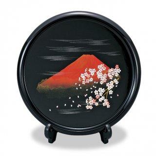 山中漆器 木製10.0飾り皿(漆塗)富士さくら(皿立て付き)