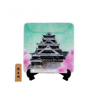 七宝焼き 飾皿 3.5角熊本城