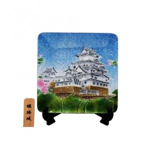 七宝焼き 飾皿 3.5角姫路城