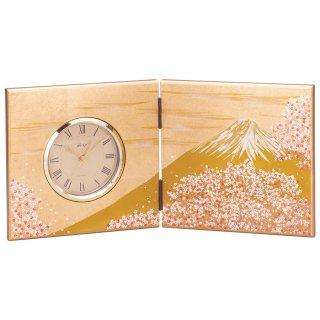 山中漆器 屏風時計 富士雅桜(大)
