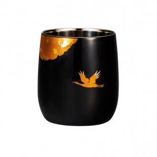 山中漆器 漆磨二重だるまカップ かがやき 黒