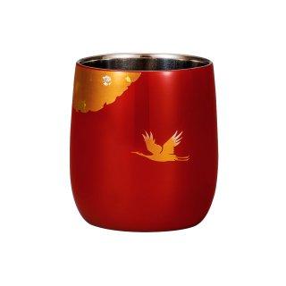 山中漆器 漆磨二重だるまカップ かがやき 赤