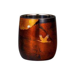 山中漆器 漆磨二重だるまカップ かがやき 白檀 黒