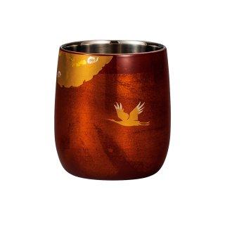 山中漆器 漆磨二重だるまカップ かがやき 白檀 赤