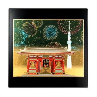 山中漆器 マウスパッド 浅草雷門(B) 飾り立て付き