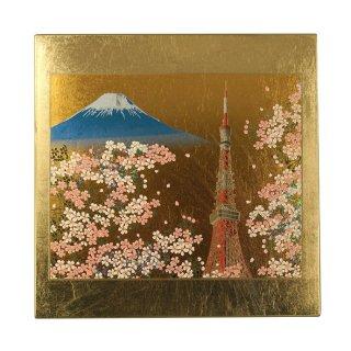 山中漆器 マウスパッド 東京タワー(G) 飾り立て付き