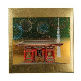 山中漆器 マウスパッド 浅草雷門(G) 飾り立て付き