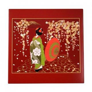 山中漆器 マウスパッド 京桜(R) 飾り立て付き