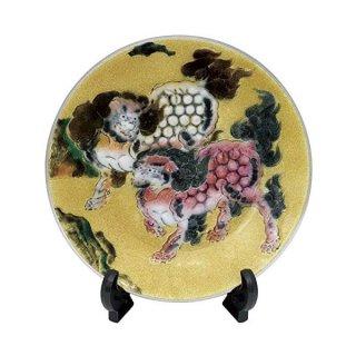 七宝焼き 飾皿 8丸唐獅子図