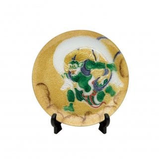 七宝焼き 飾皿 13.5丸風神