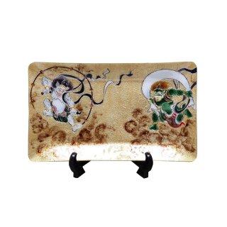七宝焼き 飾皿 06風神雷神