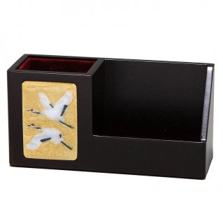 七宝焼き 小物入れ 眼鏡スタンド(木製)金鶴