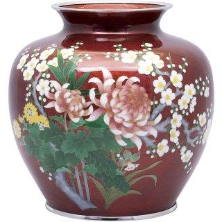 七宝焼き 花瓶 80号玉型赤透四君子