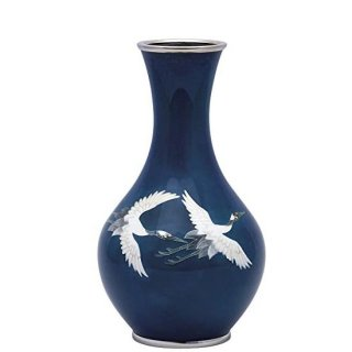 七宝焼き 花瓶 70号首長紺鶴
