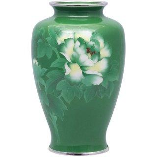 七宝焼き 花瓶 80号中太緑牡丹