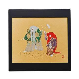 山中漆器 マウスパッド 連獅子(B)