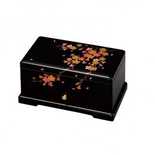 会津漆器 オルゴール宝石箱 黒 8.0引出 桜