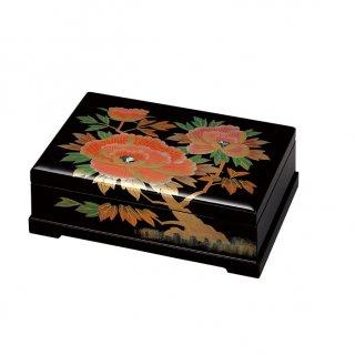 会津漆器 オルゴール宝石箱 黒 8.5角平 牡丹