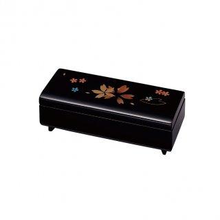 会津漆器 オルゴール宝石箱 黒 7.5長角 さくら