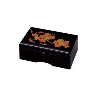 会津漆器 オルゴール宝石箱 黒 6.5角 桜