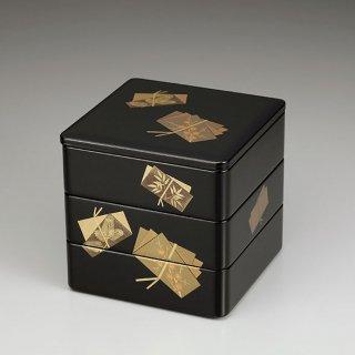 会津漆器 重箱 黒内朱 6.5三段本重 色紙結び