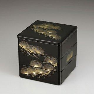 会津漆器 重箱 黒内朱 6.5三段本重 舞扇