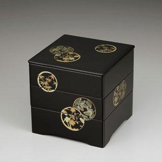 会津漆器 重箱 溜内朱 6.5三段重 共足 花丸