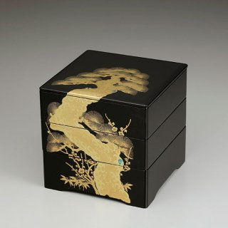 会津漆器 重箱 黒内朱 6.5共足三段重 金松台
