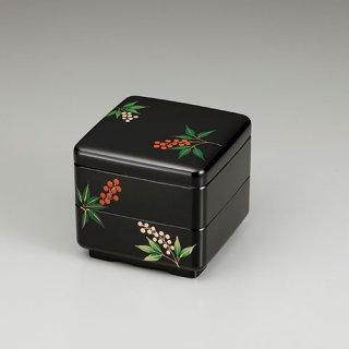 会津漆器 重箱 黒内朱 緑型 4.5二段重 南天