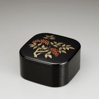 会津漆器 重箱 黒 くつわ型 7.2二段オードブル 南天