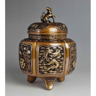 高岡銅器 六陵瑞鳥紋香炉