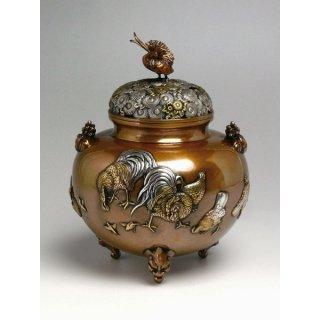 高岡銅器 金鶏鳥香炉