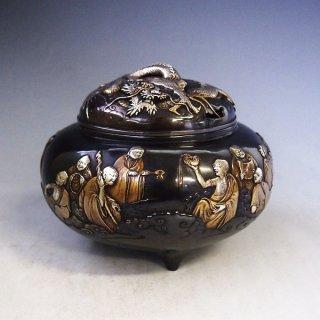 高岡銅器 十六羅漢香炉 雲龍蓋