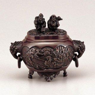 高岡銅器 小判型七福神小恵比須大黒蓋香炉