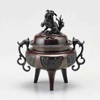 高岡銅器 大和型獅子蓋香炉 大 徳色