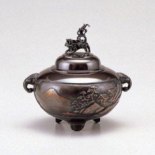 高岡銅器 鉄鉢型山水 小 古手色 香炉