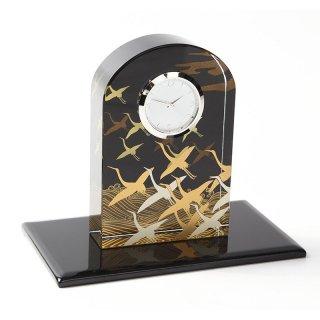 紀州蒔絵 クリスタル時計 波に鶴