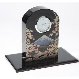 紀州蒔絵 クリスタル時計 富士に桜