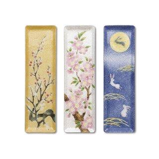 七宝焼き ペン皿(ミニ) 金地梅、桜、月と兎