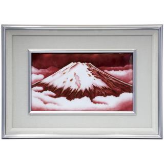 七宝焼き 額 M6有線赤富士