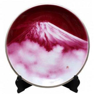 七宝焼き 飾皿 15丸赤富士