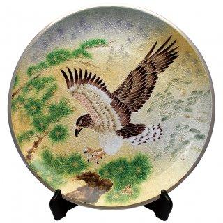 七宝焼き 飾皿 15丸松に鷹