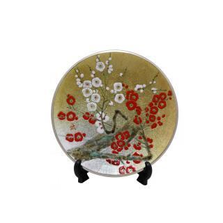 七宝焼き 飾皿 8丸紅白梅