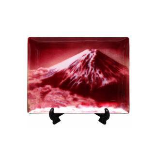 七宝焼き 飾皿 68赤富士