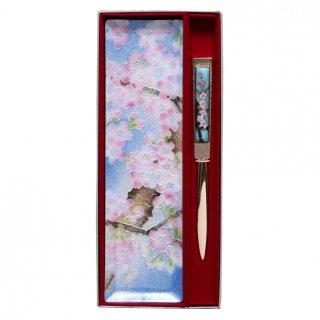 七宝焼き ペン皿 ペーパーナイフセット 桜(小)