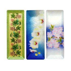 七宝焼き ペン皿(大) アイビー、胡蝶蘭、桜譜